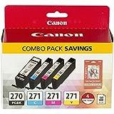 Canon PGI-270/CLI-271 Photo Paper Combo Pack Compatible to MG6820, MG6821, MG6822, MG5720, MG5721, MG5722, MG7720, TS5020, TS
