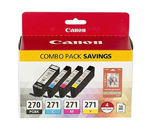 Canon PGI-270/CLI-271 Photo Paper Combo Pack  Compatible to MG6820, MG6821, MG6822, MG5720, MG5721, MG5722, MG7720, TS5020, TS6020, TS8020, TS9020