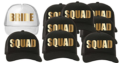 Trucker Hat Squad Bachelorette Party Wedding (9-Pack) 8-Black for the Squad/1-White for the Bride by Custom Apparel R Us