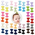 "Prohouse 40PCS(20 Pairs) 2"" Tiny Baby Hair Clips Boutique Grosgrain Ribbon Hair Bow Alligator Clip Barrettes for Baby Girls Toddlers Kids"