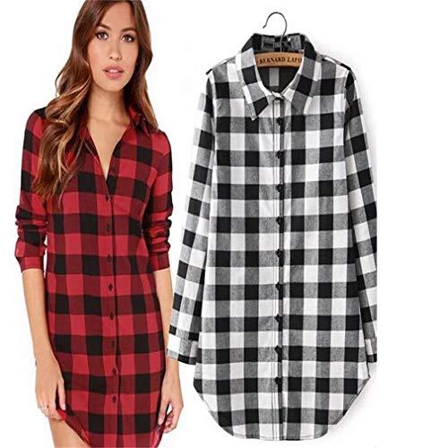 quadri Smallgirl Cotone Red lunga plaid top plaid donna a da casual scozzese Nero large camicia camicia xx Nuovissimo sicura e camicetta Znfwq4Zra