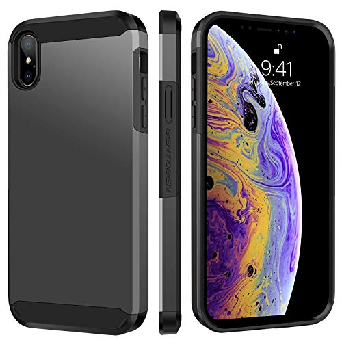 """BENTOBEN iPhone Xs Max 6.5"""" Case, iPhone Xs+ Phone Cover Slim Full Body Protective Soft TPU Hard PC Shockproof Anti Scratch Shatterproof Sturdy Strong Cover for Apple iPhoneXs Max, Gray/Black"""