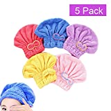 Ohequbao Absorbent Hair Drying Caps, Fast Dry Hair Towels Elastic Microfiber Bath Wraps for Girls and Women (5 Pack)
