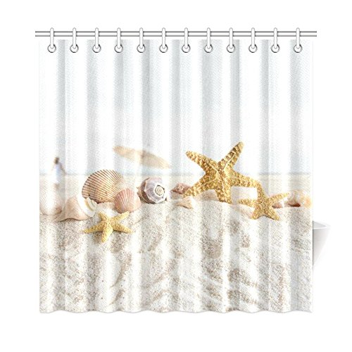 InterestPrint-Tropical-Island-Sandy-Beach-Home-DecorSeashell-Starfish-Polyester-Fabric-Shower-Curtain-Bathroom-Sets-72-X-72-Inches