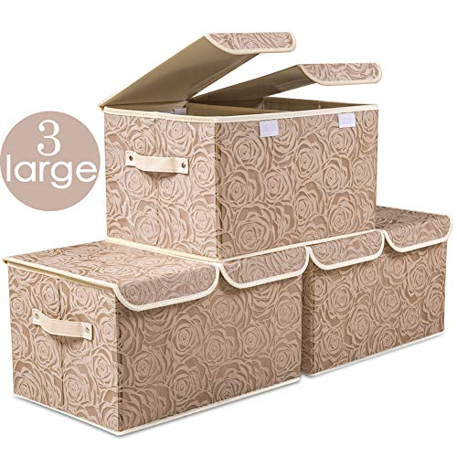 Prandom Large Stackable Storage Bins with Lids [3-Pack] Fabric Decorative Storage Box Cubes Organizer Containers Baskets with Cover Handles Divider for Bedroom Closet Living Room (Brown)