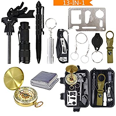 Emergency Survival Kits, 13 in 1 Upgrade Outdoor Survival Tools Gear Set, Compass, Wire saw, Survival Knife, Flint stone, Flashlight, Tactical Pen, Knife Card ect, for Camping Hiking Travelling