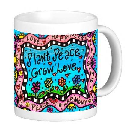 Plant Peace Grow Love Happiness 11 ounce Ceramic Coffee Mug Tea Cup