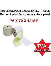 10 Rouleauxpapier AUTOCOPIATIVO 2 hojas blanco + amarillo tamaño 76 x 70 x 12 mm