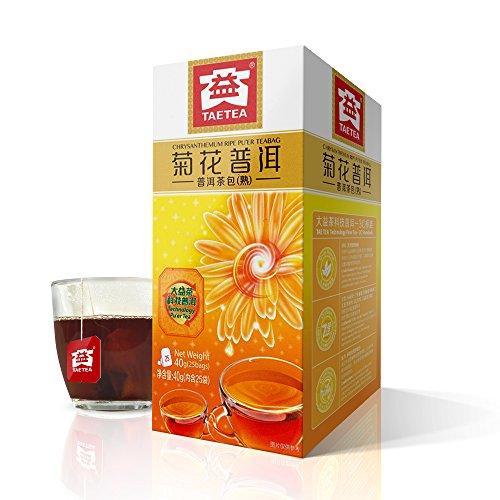 TAE TEA Chrysanthemum Tea Bags - Pu'er Tea with Chrysanthemum, Chinese Black Tea - Pu erh Tea Bag - Pu er Fermented Tea Bags, 25 Count Individually Wrapped for Weight Loss Chinese Chrysanthemum Tea