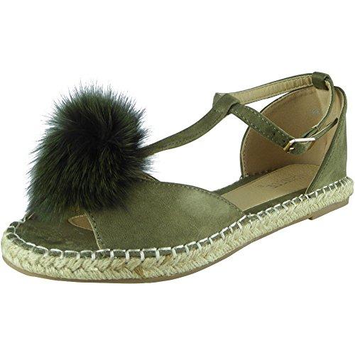 Piel Planos Talla Look Pompón Barra Zapatos 8 Sandalias Peep Toe Verde 3 Alpargatas T Mujer Loud XTxP7nT