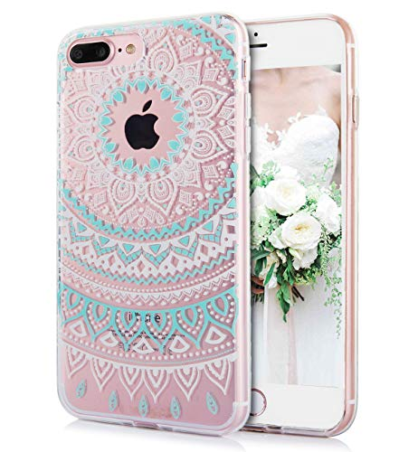 (iPhone 8 Plus iPhone 7 Plus Case Cute Lace Paisley Flowers Watercolor Floral White Cyan Mandala Pattern Clear IMD Hybrid Hard TPU Back Cover Shockproof Protective Phone Cases for Women Girls-[5.5
