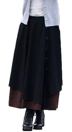 e6df14d00867 Soojun Women's Elastic Waist Spliced Cotton Linen Skirts with Pockets Black