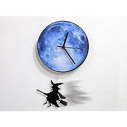 Halloween Witch Swinging on the Moon - Pendulum Wall Clock