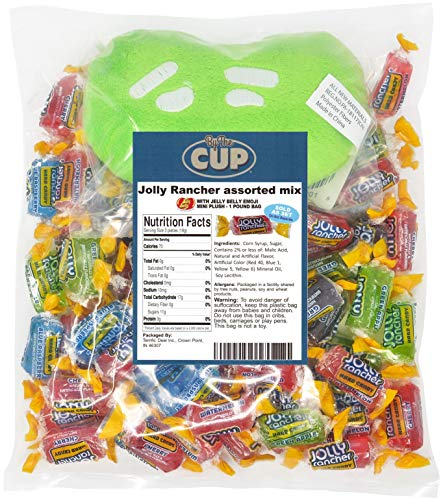Jolly Rancher Bulk Hard Candy Mix 1 Pound Individually Wrapped Assorted - with 1 Jelly Bean Emoji Mini Plush Toy