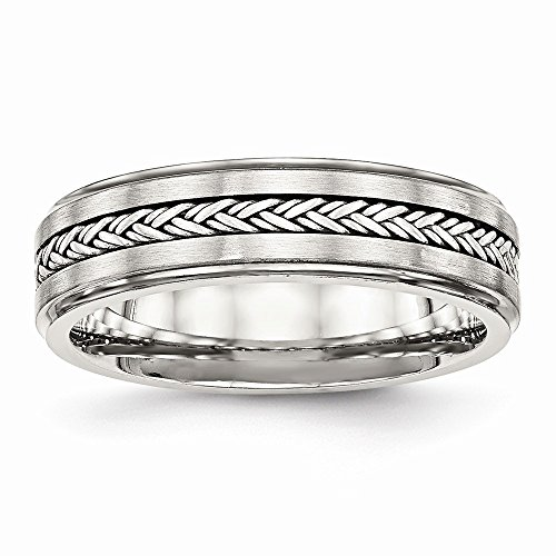 Chisel 6.1mm Stainless Steel Polished and Brushed with Silver Braid Inlay Ring - Size 9