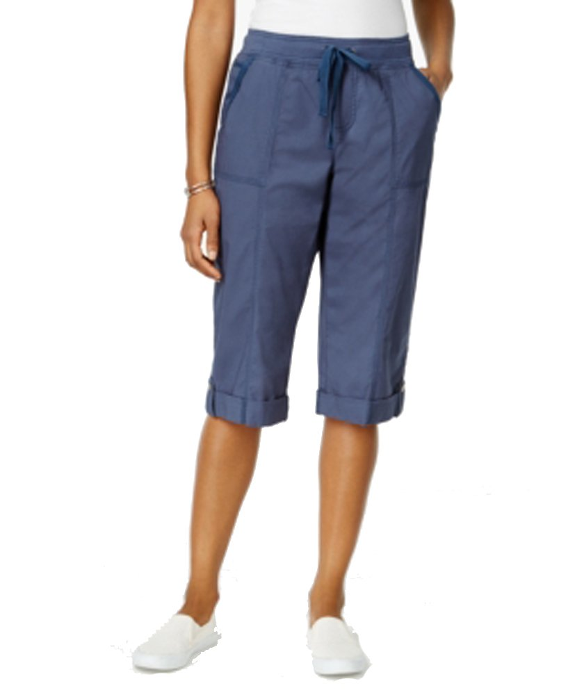 Style & Co. Womens Plus Comfort Waist Mid Rise Skimmers Blue 24W