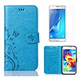 for Samsung Galaxy S5 / S5 Neo Wallet Case and Screen Protector,OYIME [Butterfly Flower Embossed] Elegant Pattern Design Leather Holster Kickstand Card Slot Function Shockproof Full Body Pretection Bumper Magnetic Flip Cover with Wrist Lanyard - Pure Blue
