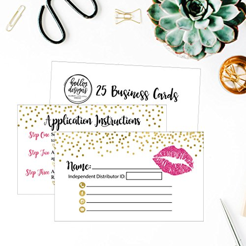 25 Lipstick Business Marketing Cards, How To Apply Application Instruction Tips Lip Sense Distributor Advertising Supplies Tool Kit Items, Makeup Party For Lipsense Younique Mary Kay Avon Amway Seller by Hadley Designs (Image #4)