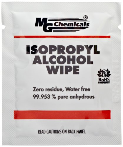 Isopropyl Alcohol Cleaning (MG Chemicals 99.9% Isopropyl Alcohol Wipe, 6