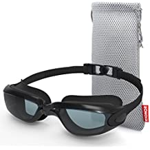 Zionor Swimming Goggles, G1 Polarized Swim Goggles with Mirror/Smoke Lens UV Protection Watertight Anti-Fog Adjustable Strap Comfort fit for Unisex Adult Men and Women, Teenagers