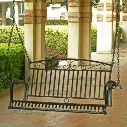 Porch Swing: International Caravan Tropico 4-ft. Wrought Iron Porch Swing by International Caravan