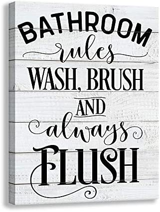 Shang pin Vintage Bathroom Canvas Wall Art Sign | Woodgrain Background Printed Bathroom Rules Plaque Frame Family Bathroom Laundry Wall Decoration Mural (12 X 15 inch Bathroom)