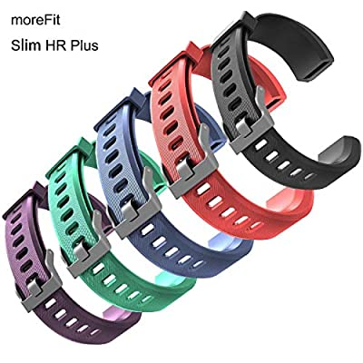 MoreFit Slim HR Plus Band, Adjustable Replacement Strap for MoreFit Slim HR Plus Smart Wristbands (5 Pack Claasic)
