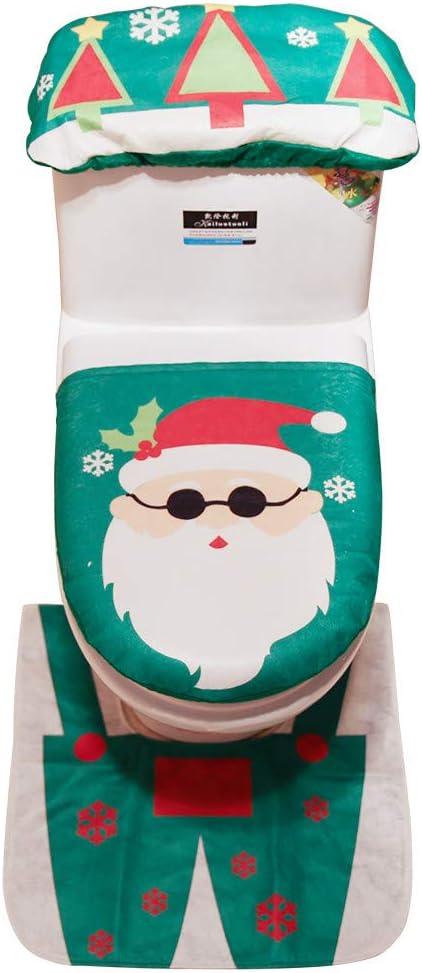Decoraci/ón de Navidad,Dragon868 3PCS Navidad WC cubierta asiento Santa Claus ba/ño Mat Xmas rojo