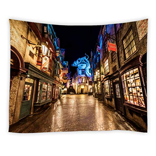 AMNYSF Fantasy Street Road Diagon Alley for Harry Potter Movie Tapestry Wall Hanging Magic World City Night Scenery Decor Tapestries for Bedroom Living Room Dorm 70X70 Inch