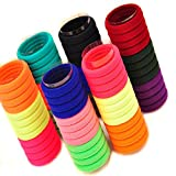 FOK Set Of 50 Pcs High Quality Effortless Multi Bright Colored Elastic Cotton Stretch Hair Ties Bands Headband Durable Hair accessories Ponytail Holder No Snagging Or Stretching Rubber Bands