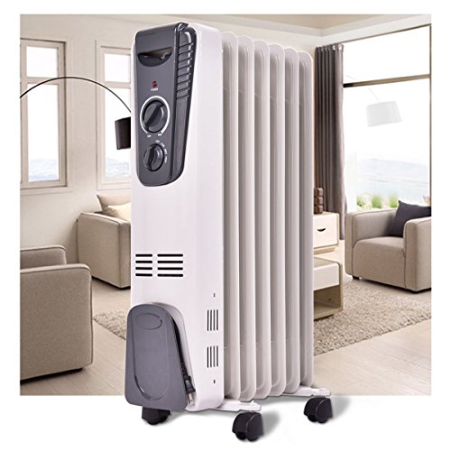 Furinho Bush - 1500W Electric Oil Filled Radiator Space Heater 5.7 Fin Thermostat Room Radiant YRS 1257 Oil Filled Heaters