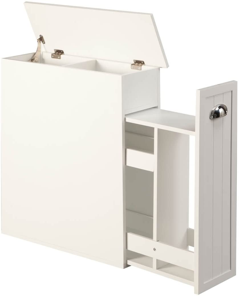 Amazon Com Oakridge Slim Bathroom Storage Cabinet With Slide Out Shelf Hinged Lid 7 In Wide White Kitchen Dining