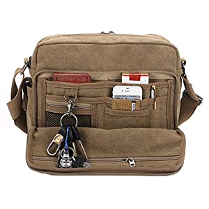 Kenox Classic Multifunctional Mens Canvas Messenger Bag Crossbody Working Field Bag 27