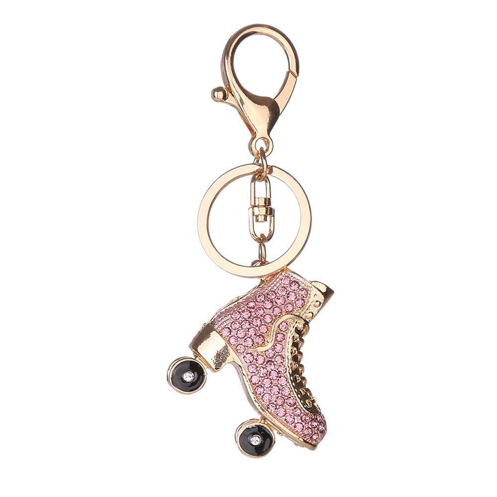 Yamalans Cool Roller Skates Keyring,Glitter Rhinestone Keychain Charm Bag Pendant Car Key Decor Xmas Gift Pink