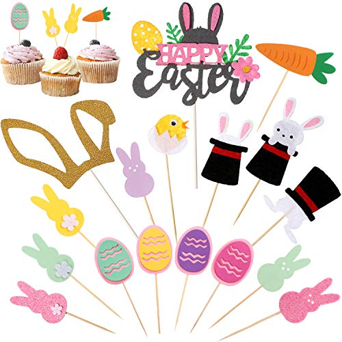 Blulu 34 Pieces Happy Easter Cupcake Toppers Bunny Chick Egg Carrot Cake Toppers for Easter Party Cake Decorations