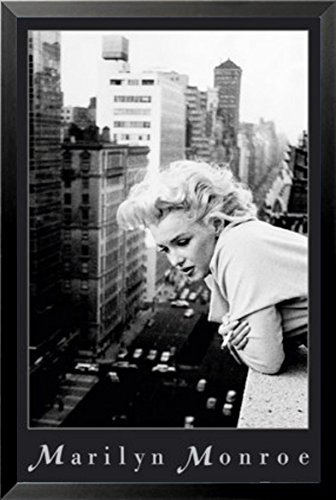 Buyartforless Work Framed Marilyn Monroe on NYC Balcony Ambassador Hotel March 1955 by Ed Feingersh 36x24 Black and White Photograph Art Print Poster, Multicolor (With Balcony Hotel Nyc)