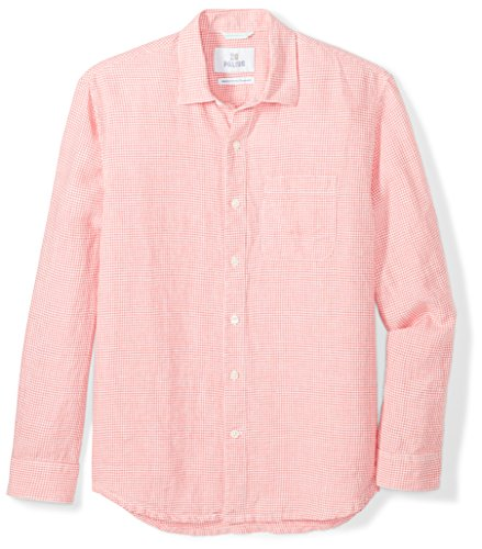(28 Palms Men's Relaxed-Fit Long-Sleeve 100% Linen Check Shirt, Coral, Large )