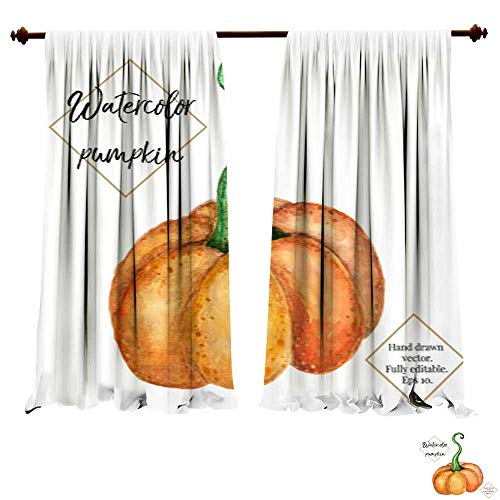 (Blackout Room Darkening Curtains Vector watercolor pumpkin isolated on white background Hand painted hand drawn vegetable Halloween thanksgiving autumn ill Bedroom Living Room Modern)