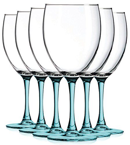 Aqua Nuance Accent Stem 10 oz Wine Glasses - Set of 6 by TableTop King - Additional Vibrant Colors Available ()