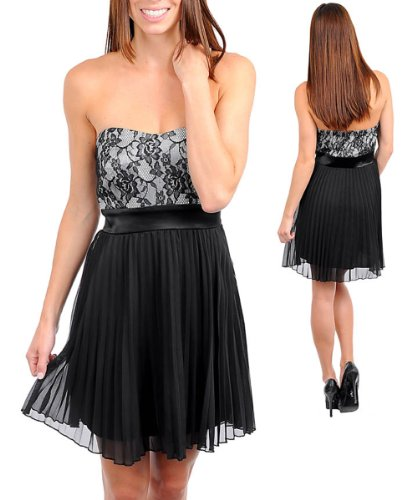 Strapless Sweetheart Neckline Sheer Pleated A Line Skirt Evening Party Dress