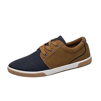 Zapatos de hombre Zapatos masculinos Casual Mocasines Costura Deporte Corriendo Excursionismo Zapatos LMMVP (Marrón,