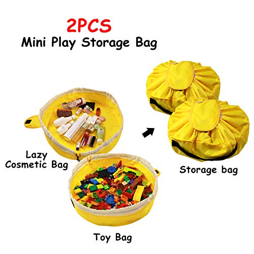 Lego Storage Bag and Play Mat Bag for Kids - 2 PCS Mini Toy Storage Mat Bag by Drawstring Lego Storage Container and Duplo Lego Mat Bag for Children Portable Lazy Storage Organizer Bag as Gift
