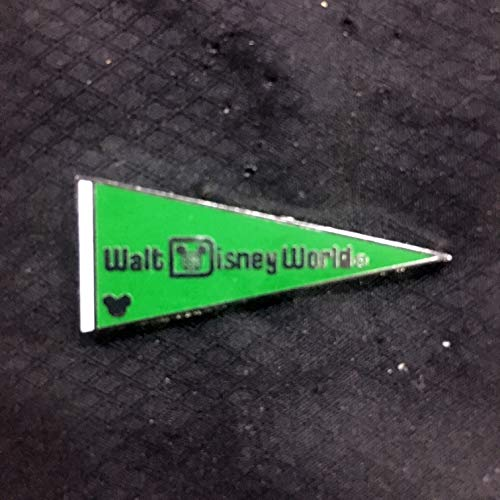 WALT DISNEY WORLD PENNANT Green (2010- #5092) , HIDDEN MICKEY official DISNEY PARK trading pin. The front of these special pins have a small Mickey Mouse icon hidden in the artwork. The back of the pin has a silver-colored stamped box indicating the pin is a Hidden Mickey pin, fully tradable at any Disney Park or Store from a Disney cast member. PN02