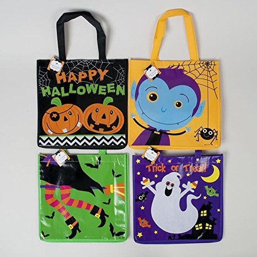 Halloween Trick Or Treat Tote Bags- Witch, Pumpkin, Ghost, & Vampire -