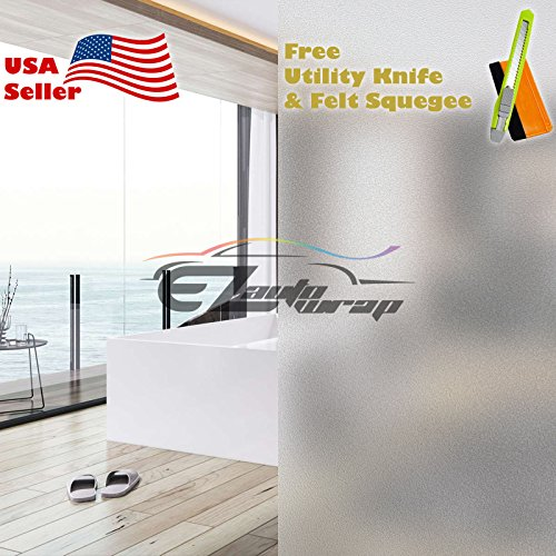 "Free Tool Kit EZAUTOWRAP Frosted Glass Peel And Stick Window Film Home Bedroom Bathroom Privacy Waterproof Sticker Decal - 48""X96"" (4FT X 8FT)"