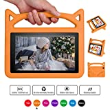 All-New F i r e 7 Case,Riaour - Kids Light Weight Handle Portable with 360 Degree Rotating Stand Shockproof Children Cover for A m a z o n F ire 7 Tablet (0range)