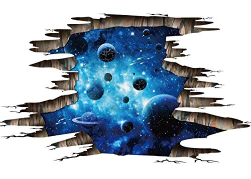 CNUSER 3D Blue Galaxy Wall Stickers- Universe Scene with Planets Stars Starry Sky- Removable Wall Mural Decals for Kids Bedroom Ceiling Living Room Nursery ()