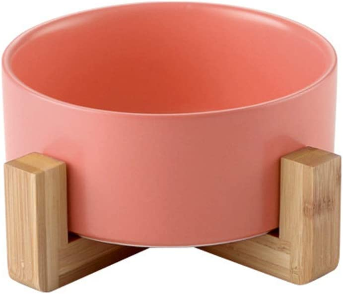 llkajes Ceramic Raised Cat Bowl Food Water Dog Basic Bowl with Anti-Slip Wooden Stand Protect Neck Joints Pet Feeding Bowls Easy to Clean Healthy Eating