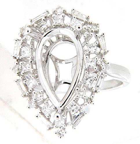 - 14K White Gold Round & Baguette Diamond Semi Mount Ring