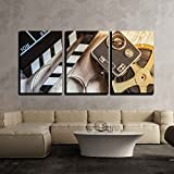 wall26 - 3 Piece Canvas Wall Art - Film Camera Chalkboard, Vintage Camera and Roll on Wooden Table - Modern Home Decor Stretched and Framed Ready to Hang - 24